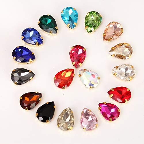 BLINGINBOX 40PCS Tear Drop Mixed Color Glass Sew On Rhinestones with Gold Claw Drop Crystal Sew On Claw Rhinestone Glitter Stones(8x13mm)