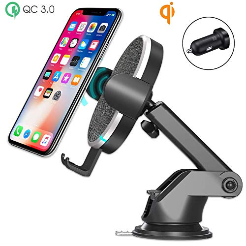 Wefunix Wireless Charging Car Mount Holder Dock 10W/7.5W Fast Wireless Car Charger Compatible with Samsung Note9/8 S9 S8 S7 iPhone Xs XsMax X 8 and All QI Phones-QC3.0 Car Adapter Included (Grey)