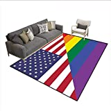 Freedom Drum Side Table Floor Mat,Conceptual Flag with American Pride Colors Activism Freedom Nationwide,Area Carpet,Multicolor 6'x8'