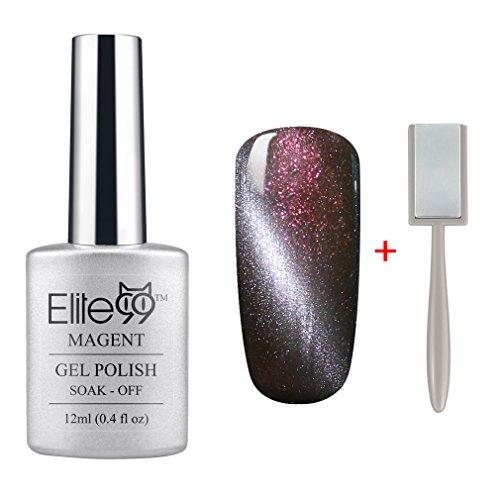 (Elite99 Magnetic 3D Cat Eye Gel Polish Soak Off UV LED Nail Art Free Magnet 6578 Shimmer Chocolate)