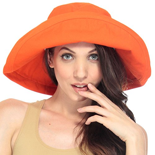 Simplicity Summer Solid Cotton Bucket Hat with Big Fold-Up Brim, Orange (Custom Bucket Hat compare prices)