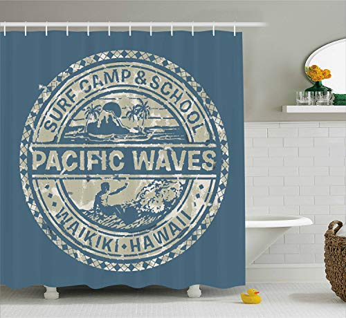 Ambesonne Modern Shower Curtain, Pacific Waves Surf Camp and School Hawaii Logo Motif with Artsy Effects Design, Fabric Bathroom Decor Set with Hooks, 70 Inches, Khaki Slate -