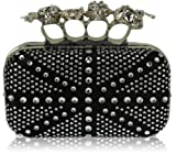 Ladies Black Silver Union Jack Box Studs Skull Knuckle Rings Clutch Evening Bag – KCMODE, Bags Central