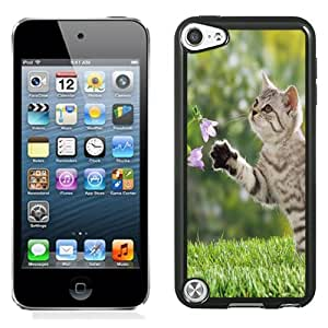 NEW DIY Unique Designed iPod Touch 5th Generation Phone Case For Cat Playing with Flowers Phone Case Cover