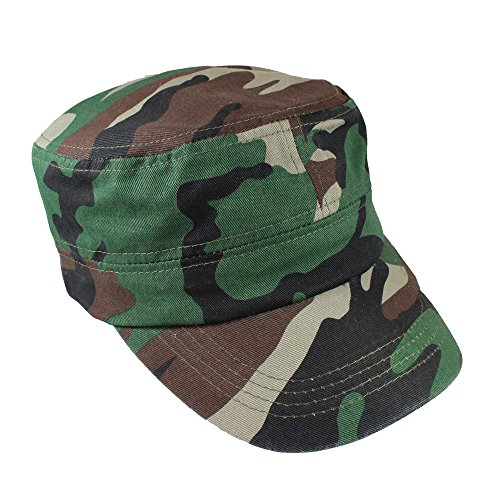- Gelante Cadet Caps 100% Breathable Cotton Plain Flat Top Twill Militray Style with Adjustable Strap. G005-Camo