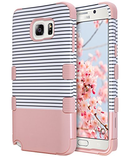 ULAK Note 5 Case, Galaxy Note 5 Case, Hybrid Anti Slip Dust Scratch Shock Resistance Protective Case Hard Cover with Soft Silicone + Hard PC (Rose Gold Stripes)