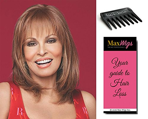 Top Billing Topper Color RL10/12 SUNLIT CHESTNUT - Raquel Welch Wigs Heat Friendly Synthetic Lace Front Monofilament Top Women's Volume Hairpiece Bundle with Wig Comb, MaxWigs Hairloss Booklet by Raquel Welch Wigs