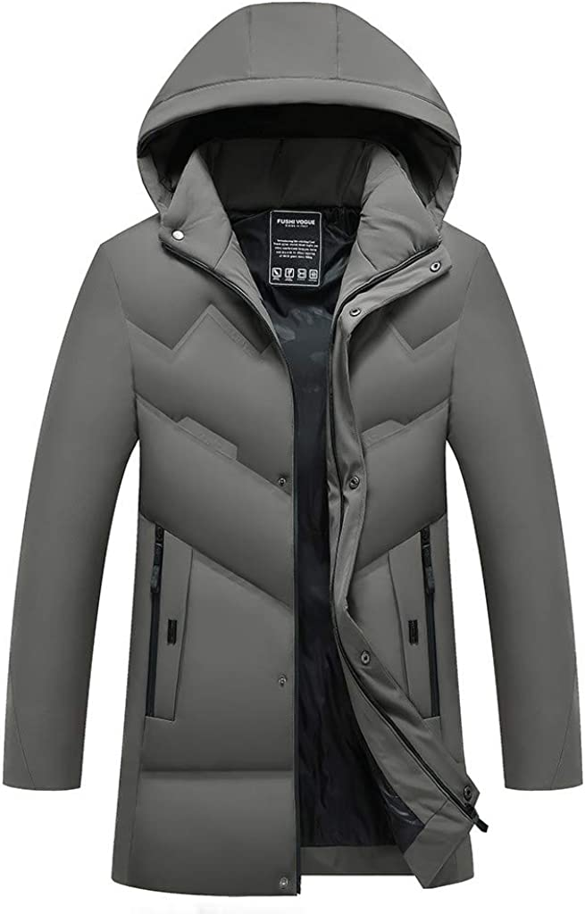 GREFER-Mens Regular and Plus Sizes Winter Slim Thicker Down Jackets Padded Parkas Coats Outwear Mid-Length