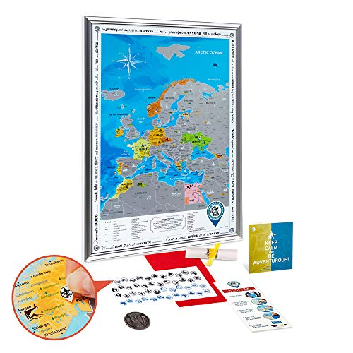 - Scratch off Europe Map Framed - Premium Detailed Large Europe Wall Map Scratch off 19x27 with Silver Frame - Colorful Silver Foil Europe Travel Map Scratch off Poster - Discovery Map