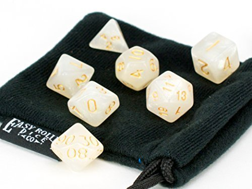 - 7 Piece Dice Set Ivory Opaque Polyhedral | PRISTINE Edition | FREE Carrying Bag | Hand Checked Quality With | Money Back Guarantee