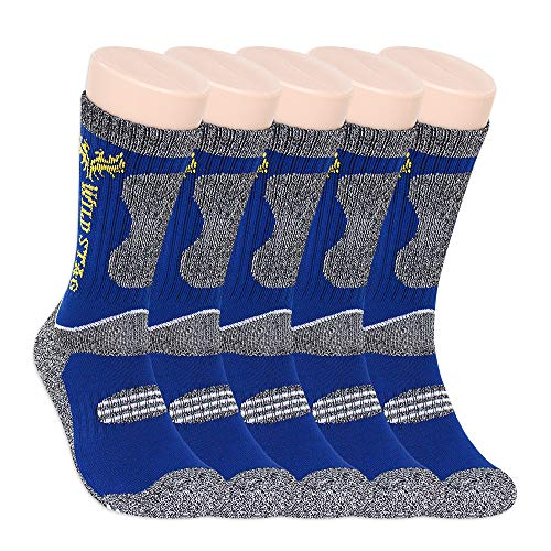 WILD STAG 5 Pairs Pack, Multi Performance Crew Socks For, Hiking Trekking Outdoor And Other Sports. (Blue X 5, - Packs Socks Multi