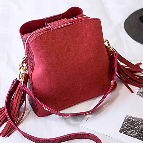 Bolso poliuretano salvaje Tamaño suave de bolso marrón borla con ajustable mujer libre para pequeño correa Rosso y vxYqvrgR