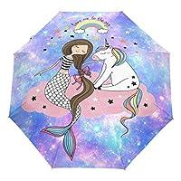 Wamika Galaxy Unicorn Umbrella Automatic Open Close Shining Stars Compact Umbrella Windproof Anti-UV Travel Umbrella Lightweight Parasol Umbrellas Sun & Rain
