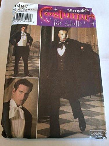 Simplicity 4482 Sewing Pattern, Men's Phantom of the Opera Costume, Size A (Phantom Of The Opera Costume Patterns)