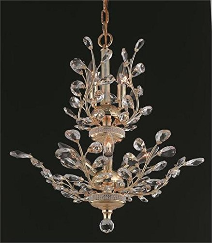 (Christelle Gold Modern 8-Light Hanging Chandelier Heirloom Handcut Crystal in Crystal (Clear)-6898D21G-RC--21