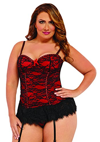 Seven 'til Midnight Victorian Lace Bustier Red 1X/2X -