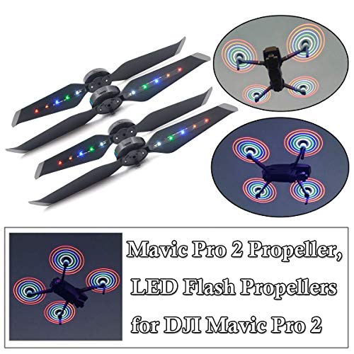 STARTRC 2 Pair Mavic 2 Pro Colorful Propeller Low Noise Quick-Release Foldable Props, Rechargeable LED Flash Propellers for DJI Mavic 2 Zoom Drone