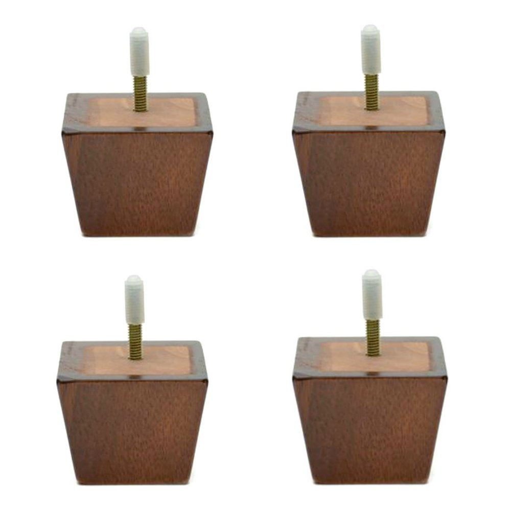 2 1/4 Inch High Tapered Wood Sofa Leg (Set of 4) - Genuine Wood Sofa Leg Tapers From 3 1/2'' Square At The Top To 2 3/8 Inch At Bottom - Dark Finish Walnut Replacement Sofa Legs (''5/16'' hanger bolt)