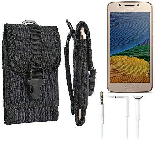 bolsa del cinturón / funda para Lenovo Moto G5 Plus, negro + Auriculares | caja del teléfono cubierta protectora bolso - K-S-Trade (TM)