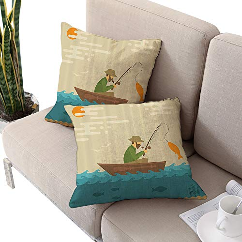 Fishing Decor Square Meditation Cushion Cover,Digital Coastal Lake Scene with Fisherman in Vessel in Fractal Effects Retro Image Multi W14 xL14 2pcs Cushion Cases Pillowcases for Sofa Bedroom Car