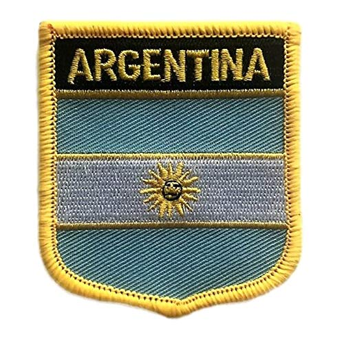 Argentina Flag Shield Travel Patch/International Iron On Badge (Argentinian Crest, 2.75