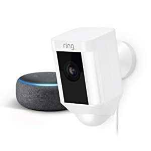 Ring Spotlight Cam Wired (White) with Echo Dot (Charcoal)