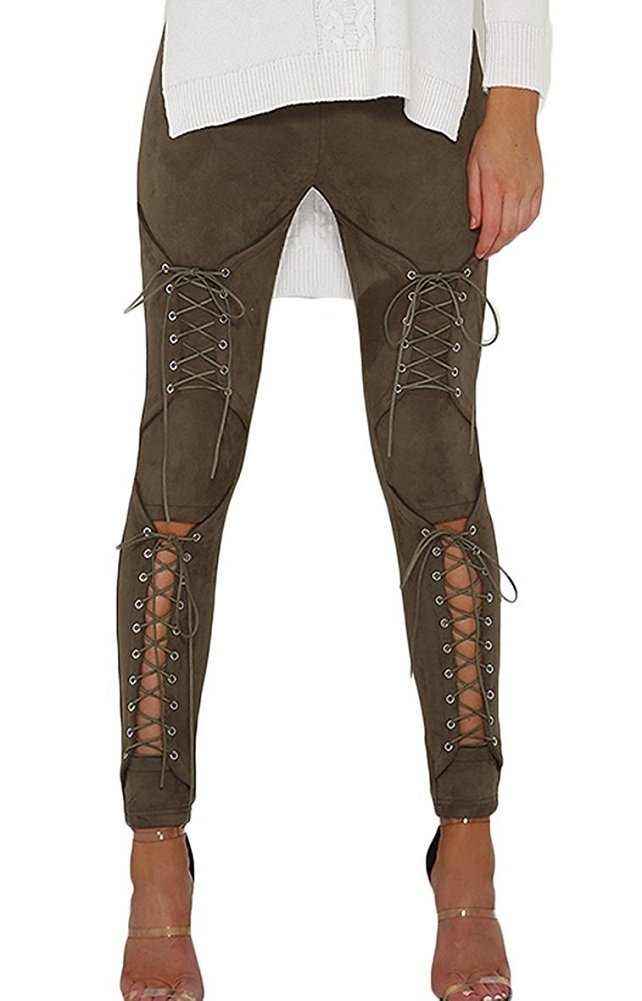 Sorrica Women's Sexy Crisscross Lace Up Bodycon Faux Suede Leggings Pants (M, Army Green)