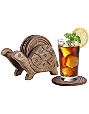 Divit Wooden Coasters for Drinks, Eco-Friendly, Absorbent, Antique Look Handcrafted Coasters, Set of 6