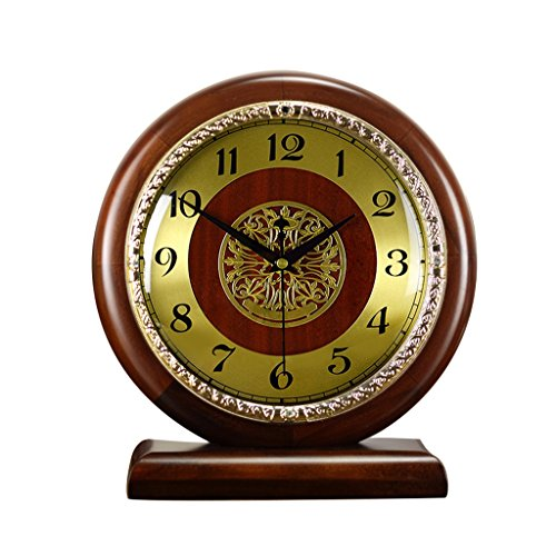 LANNA SHOP- Solid Wood Mantel Clock Non-Ticking Battery Operated Sweep Quartz Round Clock Easy to Read for Home Office School