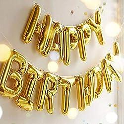 Globos de cumpleaños OUTGEEK con letrero «Happy Birthday», globos con letras de aluminio, globos de mylar para decorar fiestas de cumpleaños., Dorado, Large, 1, 100.00