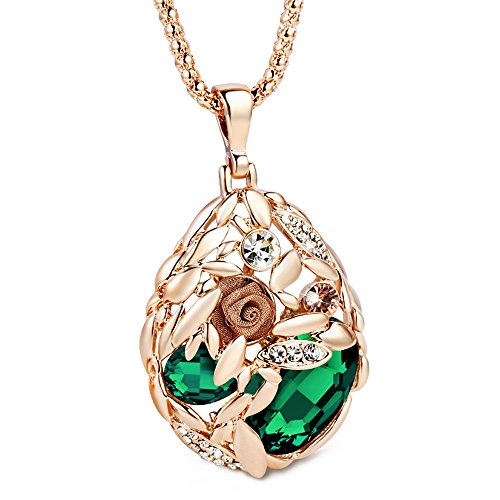 The Starry Night Rose Gold Plated Temperament Green Crystal Studded Lace Flower Drop Sweater Chain