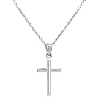 58e6a9cd070 14k White Gold Cross Pendant Necklace on an 18 in. chain