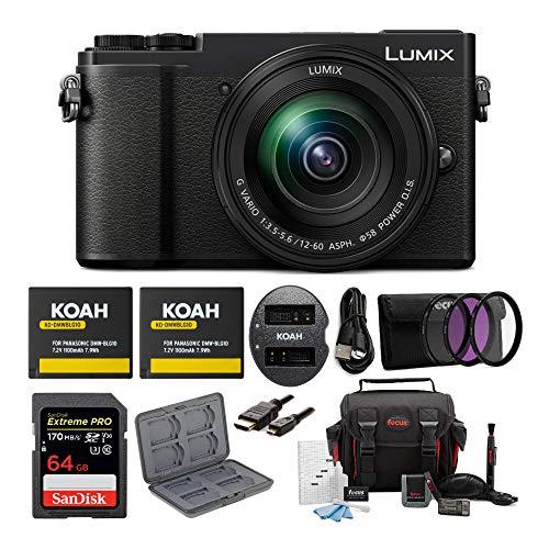 Panasonic LUMIX DC-GX9MK 4K Mirrorless with 12-60mm Power O.I.S. Lens, (USA Black) 64GB Bundle (7 Items)