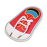 Domybest Wooden Shoes Lacing Shoelaces Toy Toddler Kids Threading Early Educational Leaning Toys