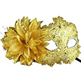 Golden Masquerade Masks, Marrywindix Eye Mask Liles Venetian Mask Lace with Rhinestone Masquerade Halloween Costume Mask