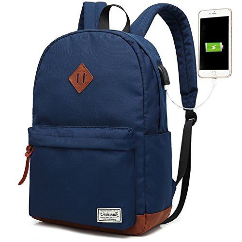 Laptop Backpack, Waterproof School Backpack With USB Charging Port For Men Women, Lightweight Anti-theft Travel Daypack College Student Rucksack Fits 14-inch Computer - (Blue / Navy Laptop Backpacks)