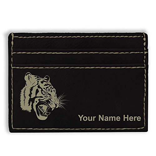 Money Clip Wallet, Tiger Head, Personalized Engraving Included (Black) Tigers Leather Money Clip