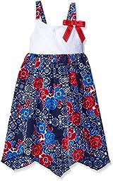 Youngland Big Girls\' Crochet Knit To Koshibo Hanky Hem Sundress, Red/White/Blue, 12
