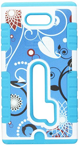 Beyond Cell Duo-Shield Hard Shell and Silicone Skin Case with Free Screen Protector for Nokia Lumia N928 - Retail Packaging - Flower Swirl Blue