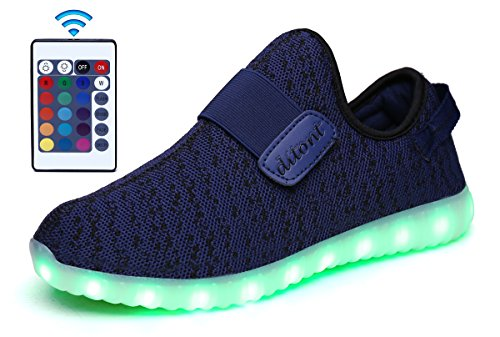 ditont LED Light Up Shoes Remote Control 16 Colors Flashing Sneakers for Kids Boys Girls(DT333Blue32)