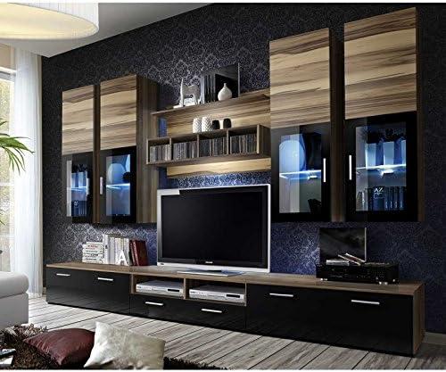 Paris Prix Mueble TV pared Design Lyra 300 cm nogal & negro ...