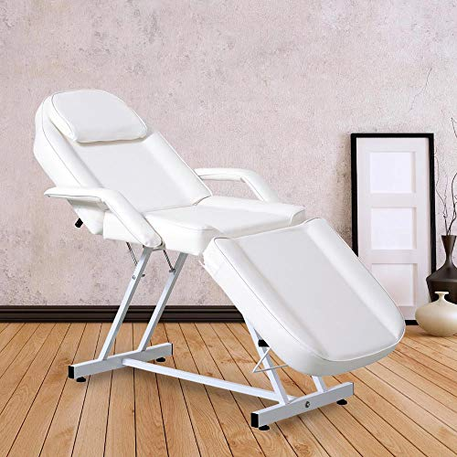 Massage Facial Bed Adjustable Tattoo Table Chair Beauty Spa Salon (White)