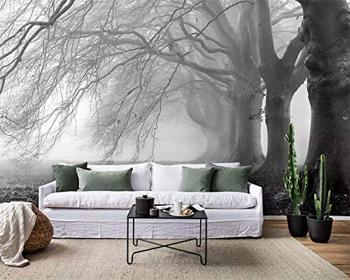 (Wallpaper Modern Minimalist Nostalgic Foggy Gray Tree Forest Mural TV Background Wall 3D Wallpaper Papel de Parede)