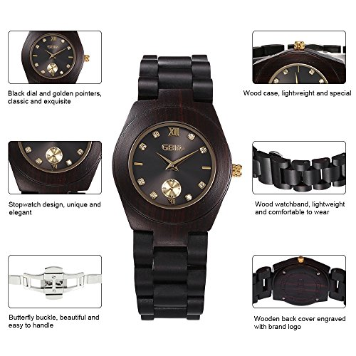 Wooden Watch Women, GBlife Natural Wood Watches with Black Dial Golden Pointers, Adjustable Lightweight Wood Band, Casual Retro Wooden Quartz Wristwatch (Ebonywood) by GBlife (Image #4)