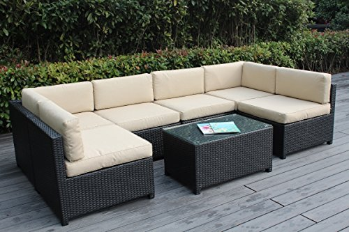 Ohana Mezzo 7-Piece Outdoor Wicker Patio Furniture Sectional Conversation Set, Black Wicker with Beige Cushions – No Assembly with Free Patio Cover