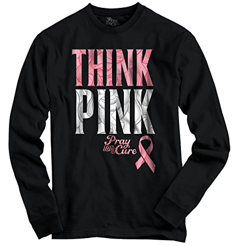 Faith Pink Ribbon (Breast Cancer Awareness Shirt | Pink Think Ribbon Hope Faith Long Sleeve Tee)