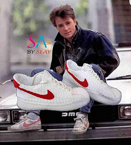 Back to the Future Marty McFly's Crochet Knitting Style Sneakers, BTTF Custom Knitting Footwear, Retro Style Custom Crochet Sneakers
