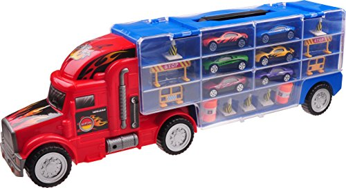 Car-Transporter-Toy-For-Boys-Girls-TG664--Cool-Toy-Truck-With-12-Cars-and-Many-Extra-Accessories-By-ThinkGizmos-Trademark-Protected