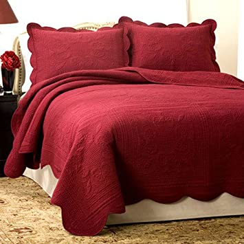 French Tile Red Quilt (Full/Queen)