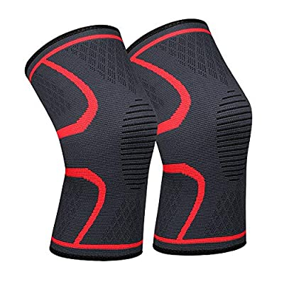 Lonew Compression Knee Sleeve, Best Knee Brace Support for Sports, Running, Jogging, Basketball, Joint Pain Relief, Arthritis and Injury Recovery & More, Men and Women (2 Piece)